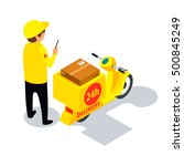 flat 3d isometric delivery... | Shutterstock .eps vector #500845249