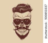 hipster skull with sunglasses ... | Shutterstock .eps vector #500853337