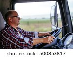 senior truck driver holding a... | Shutterstock . vector #500853817