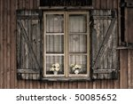 Old European Wooden Window Wit...