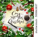 christmas design on wood | Shutterstock .eps vector #500863837