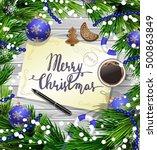 christmas design on wood   Shutterstock .eps vector #500863849