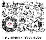 christmas object set. hand... | Shutterstock .eps vector #500865001