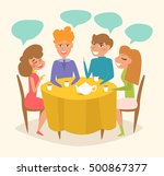 double date. people at dinner.... | Shutterstock .eps vector #500867377