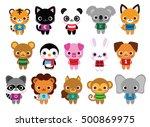 vector set of cute cartoon... | Shutterstock .eps vector #500869975