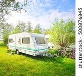 caravan trailer camping on a... | Shutterstock . vector #500876845