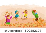 kids playing with autumn leaves.... | Shutterstock .eps vector #500882179