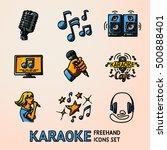 set of karaoke singing freehand ...   Shutterstock .eps vector #500888401