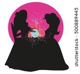 fortune teller woman reading... | Shutterstock .eps vector #500889445
