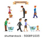 shopping people icons carrying... | Shutterstock .eps vector #500891035