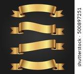 set of golden ribbons on black...   Shutterstock .eps vector #500897251