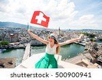 young female tourist with swiss ...   Shutterstock . vector #500900941