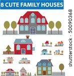 8 cute family houses. vector | Shutterstock .eps vector #50090368