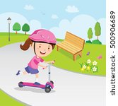 girl learn to ride scooter.... | Shutterstock .eps vector #500906689