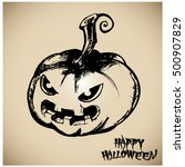 halloween pumpkin vector... | Shutterstock .eps vector #500907829