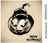 halloween pumpkin vector... | Shutterstock .eps vector #500909254