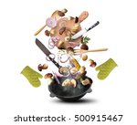 large iron skillet with... | Shutterstock . vector #500915467