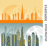 two banners with dubai city... | Shutterstock .eps vector #500920915
