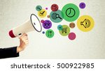 megaphone with web icons social ... | Shutterstock . vector #500922985