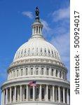 Stock photo washington dc united states landmark national capitol building with us flag 500924017