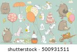 Stock vector birthday card with cute bear and hare 500931511