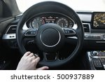 a man holds the steering wheel... | Shutterstock . vector #500937889