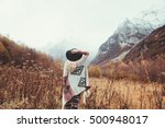 boho woman wearing hat and... | Shutterstock . vector #500948017