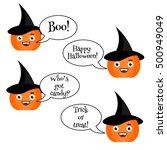 cute halloween pumpkin with... | Shutterstock . vector #500949049