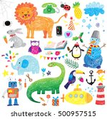 kids doodle set | Shutterstock .eps vector #500957515