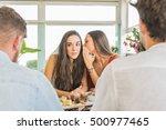 girl whispers to her best...   Shutterstock . vector #500977465