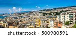 panoramic view port of genoa in ... | Shutterstock . vector #500980591