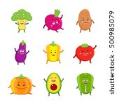 funny vegetables characters... | Shutterstock .eps vector #500985079