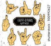 vector set of hands and... | Shutterstock .eps vector #500992627