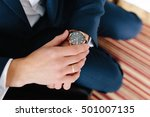 the man in the blue suit puts... | Shutterstock . vector #501007135