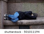 young homeless boy sleeping on... | Shutterstock . vector #501011194