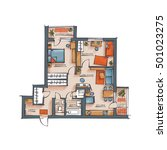architectural color floor plan. ... | Shutterstock .eps vector #501023275