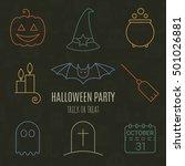 Halloween Linear Icons Set On...