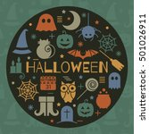 halloween colorful icons set in ... | Shutterstock . vector #501026911