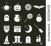 halloween flat icons set. black ... | Shutterstock . vector #501026935
