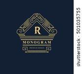 line graphics monogram. elegant ... | Shutterstock .eps vector #501035755