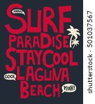 surf  tropical  typography  t... | Shutterstock .eps vector #501037567