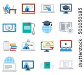 elearning  icons set. remote... | Shutterstock .eps vector #501050185