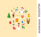 christmas vector card in flat... | Shutterstock .eps vector #501053704