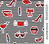 cute fashion seamless pattern...   Shutterstock .eps vector #501055225