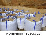 sandbag white big bag sand sacks quarry perspective