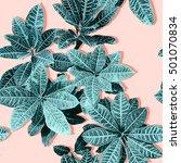 tropical leaf pattern in green... | Shutterstock . vector #501070834