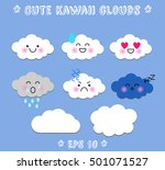 lovely cute clouds  stickers... | Shutterstock .eps vector #501071527