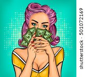 Vector Pop Art Girl With Cash