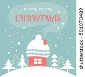 merry christmas card with home... | Shutterstock .eps vector #501073489