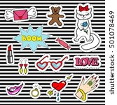 cute fashion patch badges with... | Shutterstock .eps vector #501078469